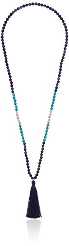 Sodalite Beaded Necklace (6mm Genuine Howlite, Dyed Turquoise Howlite, and Sodalite Beaded with Navy Blue Fringe Tassel Necklace, 32