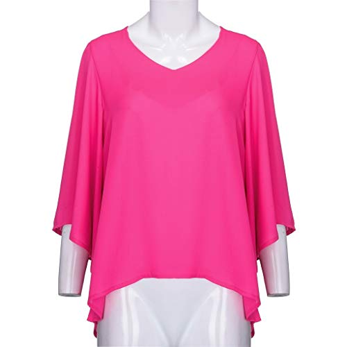Pervobs Women Ladies Loose Swing Tunic Casual Half Sleeve V-Neck Soild T-Shirt Tee Blouse Tops(US: 6, Hot Pink) by Pervobs T-Shirt (Image #5)