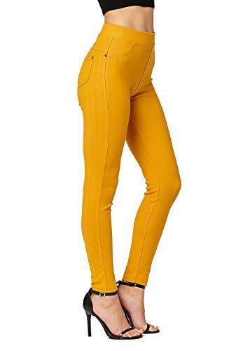 Premium Jeggings - Denim Leggings - Cotton Stretch Blend - Full Length Mustard - - Pants Ankle Length