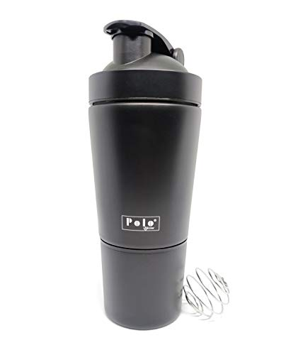Polo Lifetime Stainless Steel Shaker for Gym with Extra Storage Compartment for Protein Shakes/Smoothies/Supplements (Black, Approx.750ml) Price & Reviews