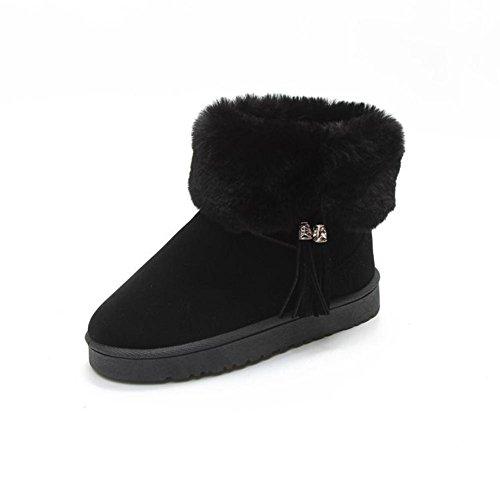 Invierno Borla Black Redondo Tobillo Mujer De Dedo Moda Zapatos xxpS6qa