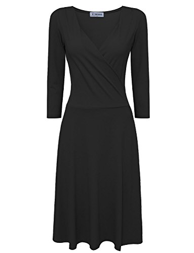 Tom's Ware Women Stylish Surplice Neckline 3/4 Sleeve Skater Dress TWCWD139-BLACK-US - Most Dresses Stylish