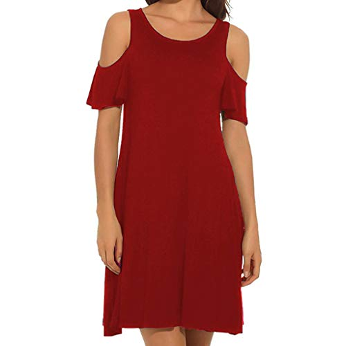 Fastbot Women's Casual Short Sleeve T Shirt Dresses Simple V-Neck Solid Color Pleated Loose Summer Dress Red