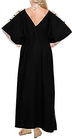 LA LEELA Mujeres caftán Rayón túnica Sólido Plain Kimono Libre tamaño Largo Maxi Vestido de Fiesta