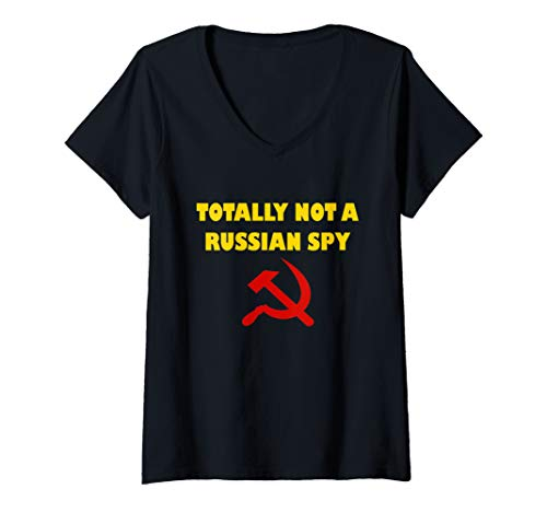 Womens Totally Not A Russian Spy Halloween Costume Funny  V-Neck T-Shirt]()