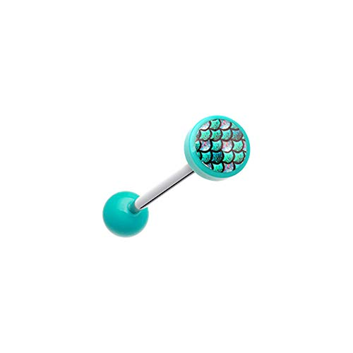 Pierced Owl Mythical Mermaid Scale Acrylic Barbell Tongue Ring (Teal) ()
