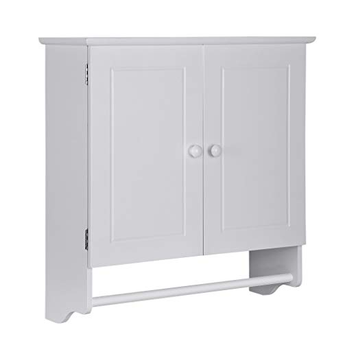"ErYao Shipped from USA, Bathroom Storage Cabinet with Double Door Cupboard and Towels Bar, Bathroom Wall Cabinet, Bathroom Shelf Over Toilet,Bathroom Medicine Cabinet, 23.8 x 8.9 x 25"" (White)"