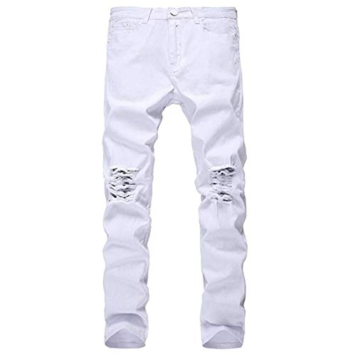 IA ROD CA Boy's White Knee Holes Distressed Ripped Slim Fit Stretch Denim Jeans Kids 12