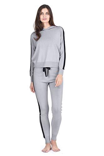 - State Fusio Women's Cashmere Wool Knitted Lounge-wear Matching Hoodie Sweatshirt/Pants