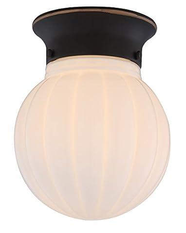 1-Light Ceiling Flush Mount, Bronze Finish with White Ribbed Glass Globe, WISBEAM - Elegance Ceiling Light