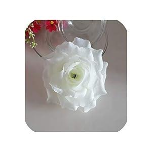 1PCS Red Silk Flower Artificial Rose Flower Heads Bouquet Decor,Cream White,Diameter 10cm 90