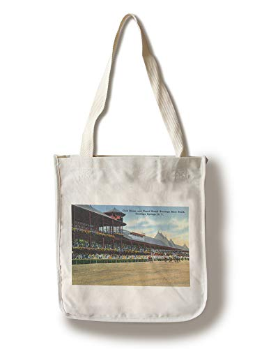 - Lantern Press Saratoga Springs, New York - Racetrack View of Clubhouse, Band Stand (100% Cotton Tote Bag - Reusable)