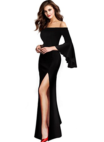 - VFSHOW Womens Off Shoulder Bell Sleeve Formal Evening Party Maxi Dress 1066 BLK S