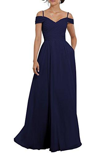 Beauty Bridal Women's Off The Shoulder Chiffon Bridesmaid Dresses Long Evening Gown S033 (20W,Navy Blue)