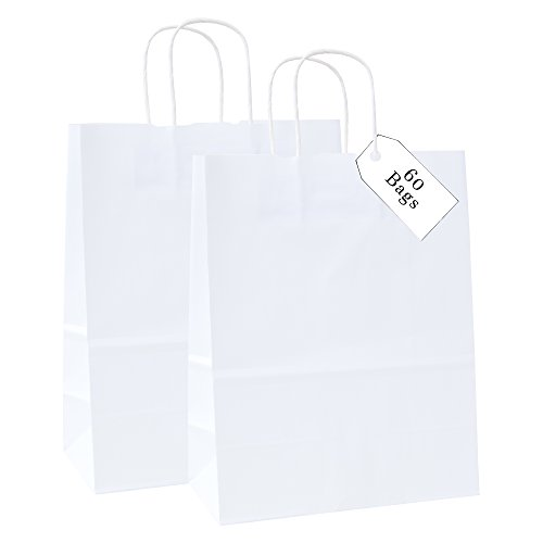 - Incredible Packaging 100% Recycled Medium Kraft Paper Bag with Handles for Shopping, Lunch, Retail and Merchandise. Strong and Reusable 10W x 5G x 13H - 80 Paper Thickness (60, White)