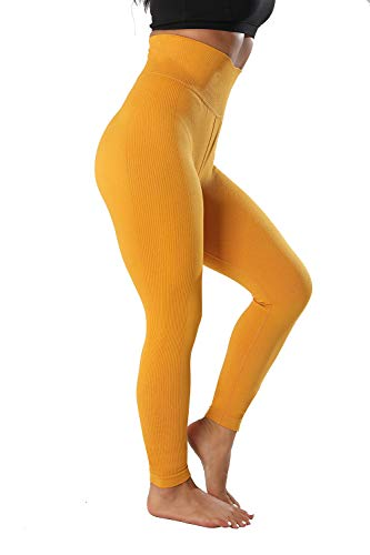 High Waisted Leggings with Pockets - Workout Leggings for Women Stretch Power Flex Yoga Pants - Full Capri Length (X-Small, Yellow(No Pockets)) ()