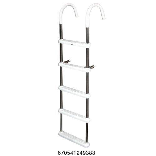 5 Step Gunwale 7'' Hook Ladder, Stainless 316 - Jif Marine