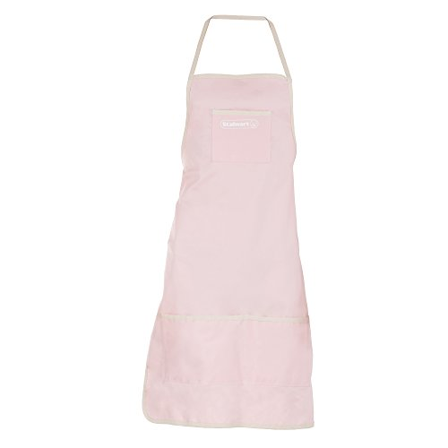 Denim Shop Apron with 3 Pockets for Tools and Supplies- Multi Use Adjustable Utility Bib with Comfortable Cotton Straps by Stalwart (Pink) by Stalwart