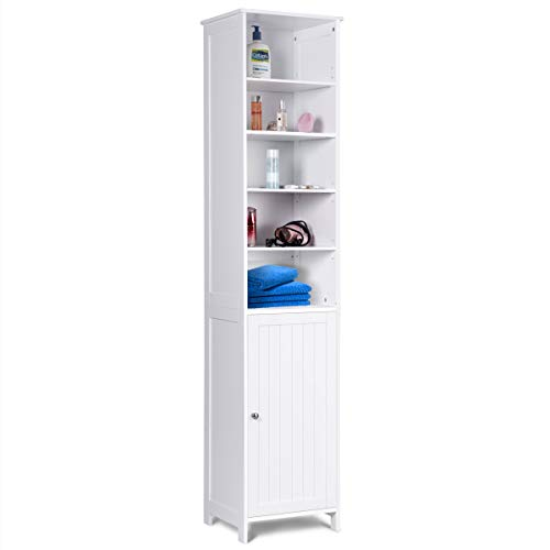Five Drawer Floor Cabinet - WATERJOY 72'' Tall Cabinet, Standing Tall Storage Cabinet, Wooden White Bathroom Cupboard with Door and 5 Adjustable Shelves, Elegant and Space-Saving