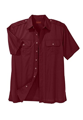 Boulder Creek Men's Big & Tall Short Sleeve Pilot Shirt, Rich Burgundy Big-2Xl Sleeve Pilot Shirt