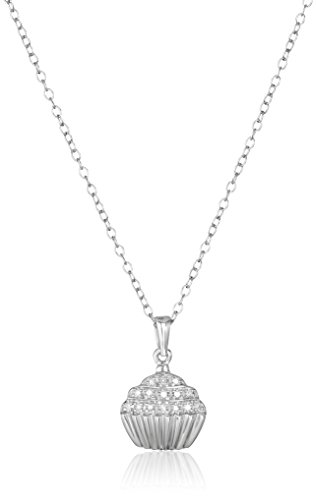 Sterling Silver Diamond Cupcake Pendant Necklace -