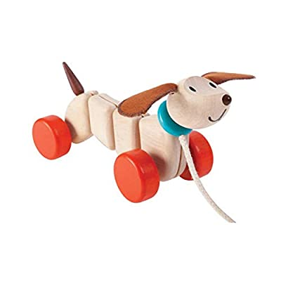 PlanToys Wooden Dancing Happy Puppy Pull Toy (5101) | Sustainably Made from Rubberwood and Non-Toxic Paints and Dyes: Toys & Games