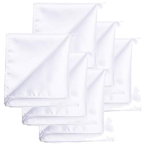 KissTies 6 PCS White Satin Pocket Square Solid Color Hankies Gift Set ()