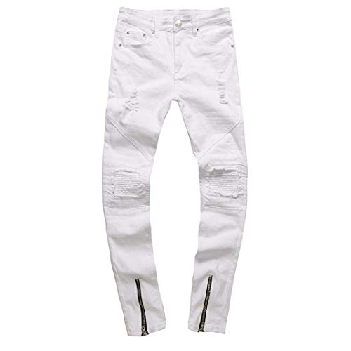 Di Ragazzo Da Chern Bianca Jeans Fit Pantaloni Slim Destroyed Strech Holes Skinny Uomo Denim IqHTCwB
