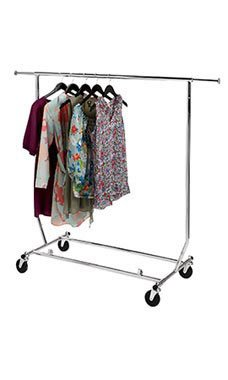 Collapsible Single Rail Salesman Rolling Rack - Chrome - STOR-60113 by Miller Supply Inc