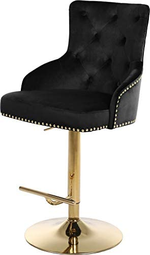 Meridian Furniture 713Black Claude Collection Modern Contemporary Velvet Upholstered Adjustable Bar Counter Stool with Gold Metal Base, 20.5 W x 22 D x 42 – 50 H, Black