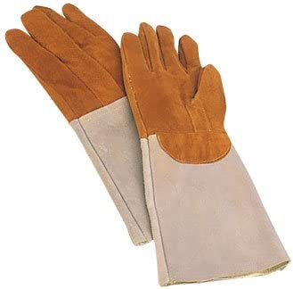 2 x Matfer Bakers Oven Gloves / Mitts. Heat Resistant Leather padded elbow length gloves / pot holders safe to +572°F. Sold in pairs.