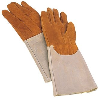 2 x Matfer Bakers Oven Gloves / Mitts. Heat Resistant Leather padded elbow length gloves / pot holders safe to +572°F. Sold in pairs. by Matfer Bourgeat