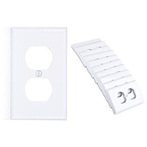Cable Matters (10-Pack) Duplex Outlet Single Gang Wall Plate Cover (Wall Outlet Cover/Wall Plug Cover) in White