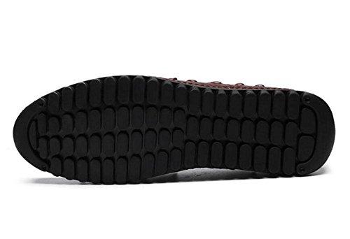Männer Slip-On Oxford Casual Sommer Breathable Erbsen Schuhe Herren Schuhe Korean Casual Schuhe Straußen Muster Schicht aus Leder Schuhe , black , 39