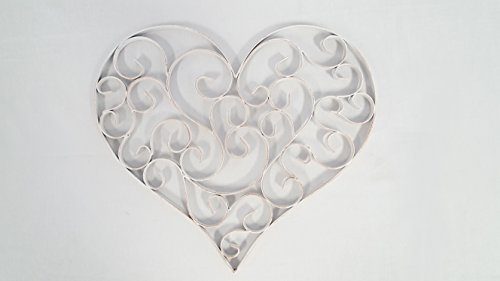 Scroll Heart - Distressed White Swirly Heart Metal Wall Decor
