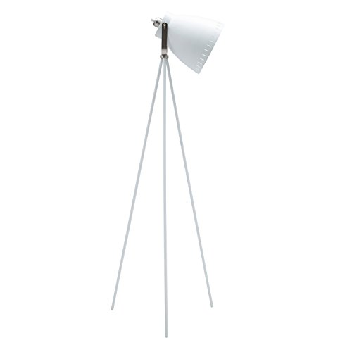 Light Society Grigsby Floor Lamp, Sand Textured White Shade and Body with Brushed Nickel Finish, Mid Century Modern Vintage Style (LS-F201-WHI)
