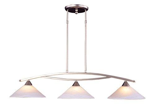 Elk 6502/3 3-Light Island Light In Satin Nickel and Tea Swirl Glass