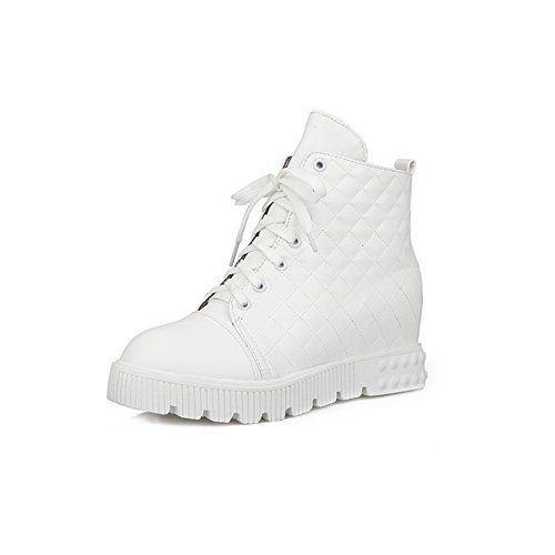 Womens Inside Platform Heighten Bandage A Imitated White Boots Leather amp;N pTwqfC5
