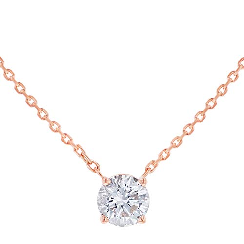 Olivia Paris 14k Rose Gold Certified Round White Diamond 1 Carat Solitaire Necklace (G-H, SI2-I1), 18