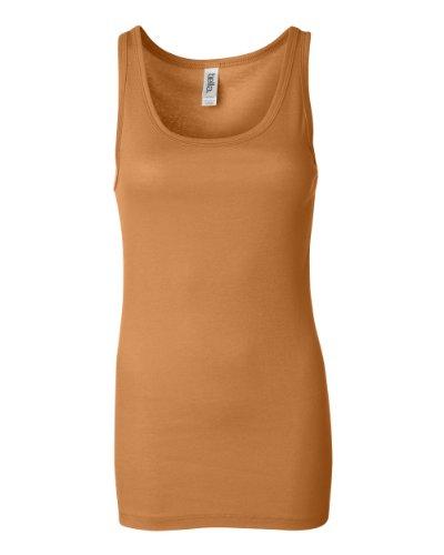 Bella Mujer Sheer Jersey durante más tiempo Longitud Tank Top. 8780 Orange Sorbet
