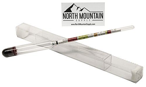 North Mountain Supply Glass Triple Scale Hydrometer - Specific Gravity 0.760-1.150 - Potential ABV 0-16% - Sugar per Liter 0-341 ()