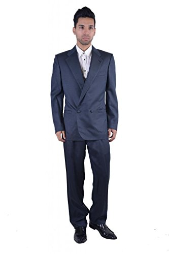 Versace Men's 100% Silk Navy Double Breasted Suit US 38 IT 48
