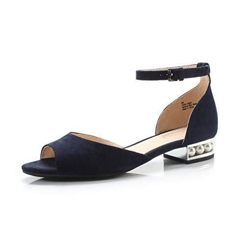 Pearl Embellished Low Block Heel Sandal Wedding Office Party Dress Shoes,Navy Fabric,10 B(M) US ()