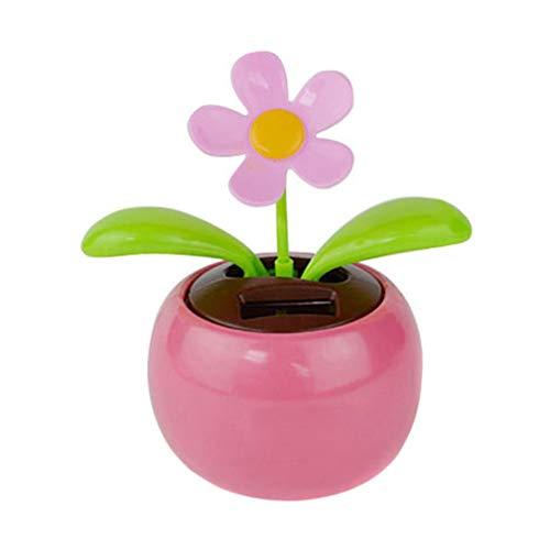 GOTIAN 태양 강화한 춤 꽃 스윙 애니메이션 홈 자동차 장식 댄서 장난감 선물 핑크색