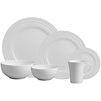 Mikasa Swirl White 36-pc Bone China Dinnerware Set Service for 6  sc 1 st  Amazon.com & Amazon.com | Mikasa Swirl White 36-pc Bone China Dinnerware Set ...