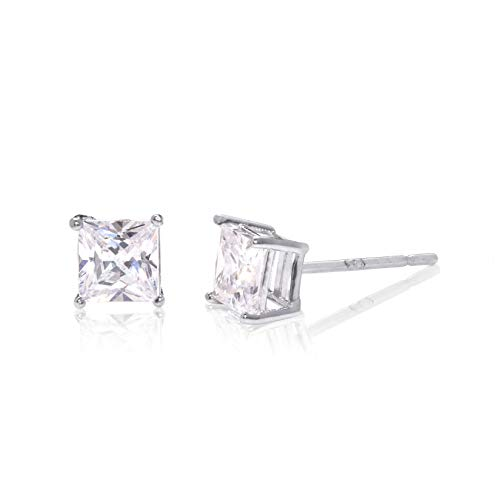 Square Princess Cut 3mm white Cubic Zirconia .925 Sterling Silver Basket Setting Unisex Stud - Stone 3 Princess Earrings
