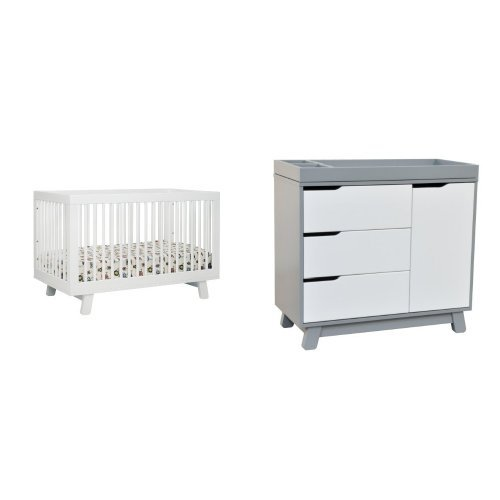babyletto Hudson 3-in-1 Convertible Crib with Toddler Rail, White and Hudson Changer Dresser, Grey/White by babyletto