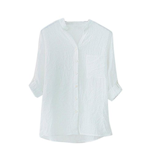 CieKen Women Botton Down Blouse, Fashion Boyfriend Style Solid/Print Tops Officce/Casual Loose T Shirt (White, 2XL)