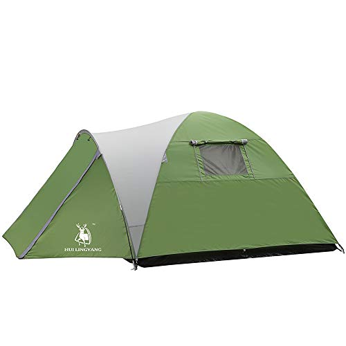 Boshen 3-4 Person Waterproof Family Tent for Camping Outdoors Recreation Green