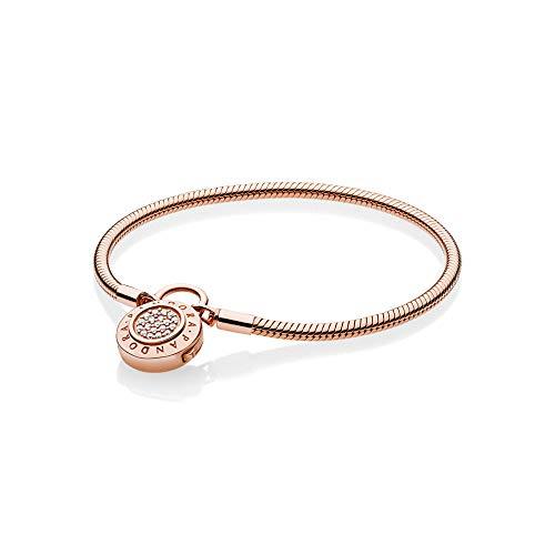 (PANDORA Smooth Rose Signature Padlock Bracelet, Clear CZ, 587757CZ-16)
